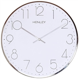 Henley 40cm Large Contemporary Dome Wall Clock - Chrome  HCW002.1