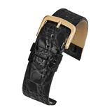 Black Crocodile Grain Strap (G) - W500/8